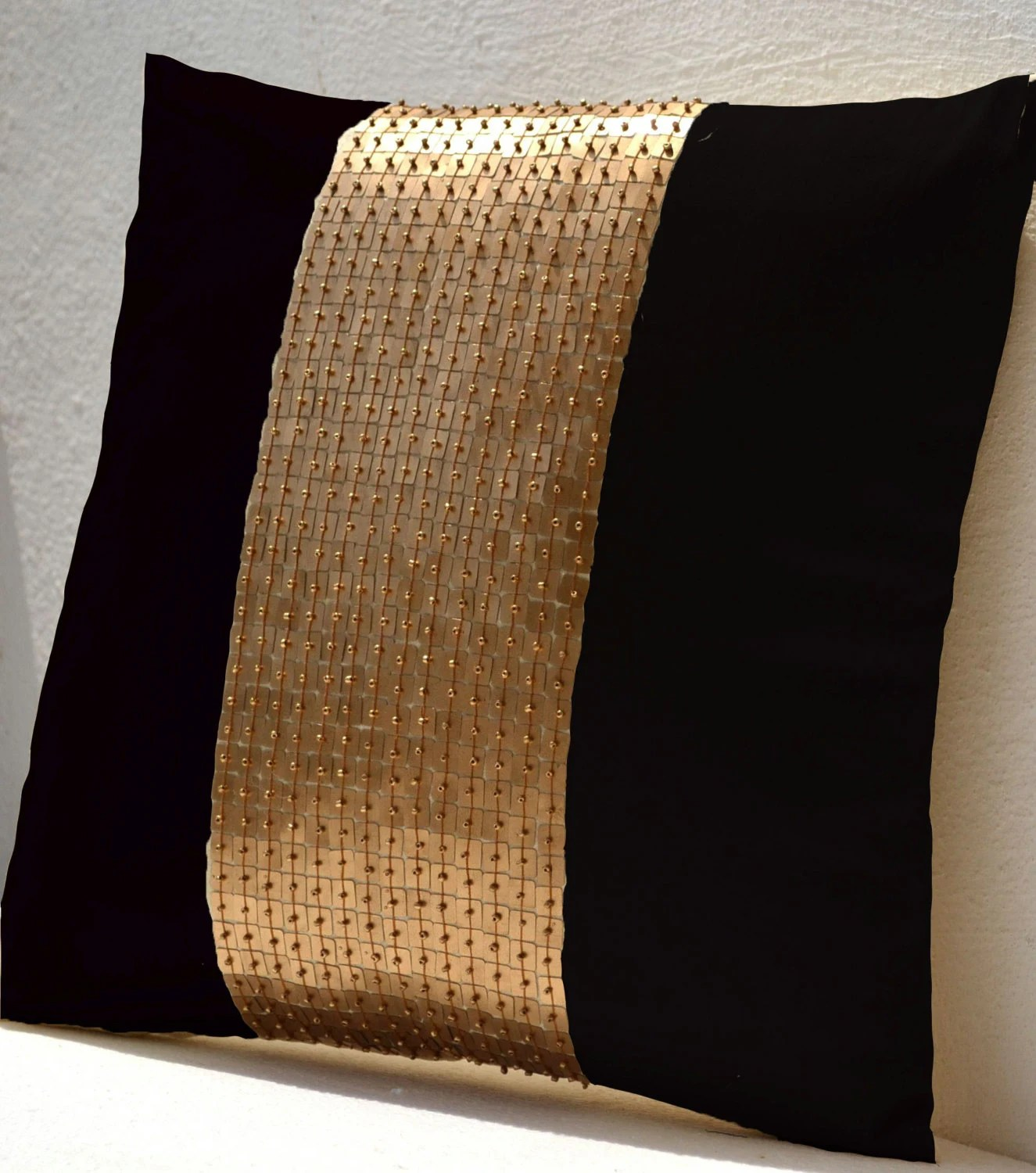 Throw Pillow covers  Black gold color block in silk and