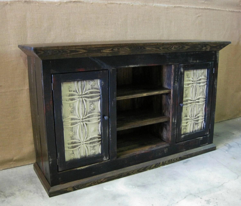Media Console  TV Cabinet  Storage Cabinet Shown in Black