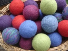 bright colored wool yarn balls for the dryer