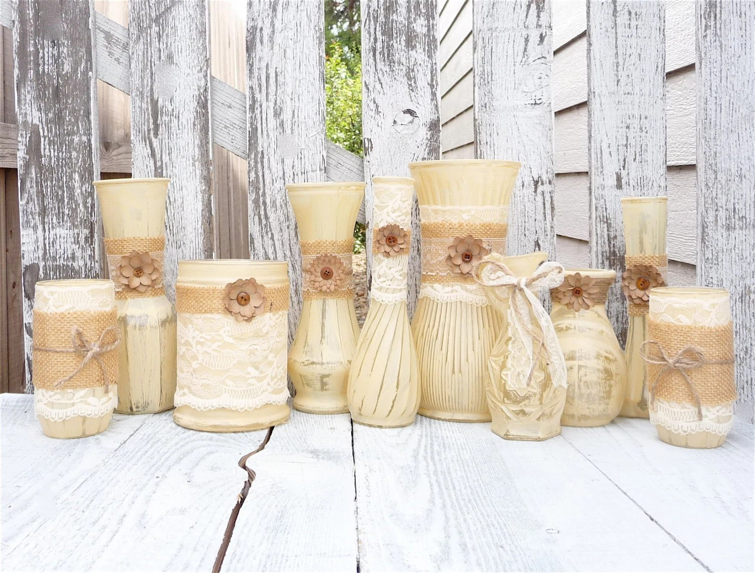 Burlap And Lace Vases Rustic Wedding SHABBY CHIC By