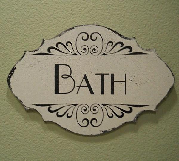 HOME DECOR SIGN, Bath Sign, Bathroom Sign Antique Distressed Vintage Sign
