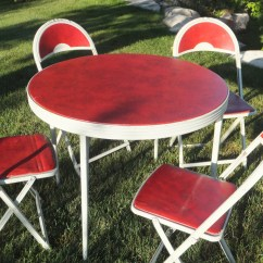 Round Card Table And Chairs Ikea Bean Bag Chair Vintage Durham Folding Christmas