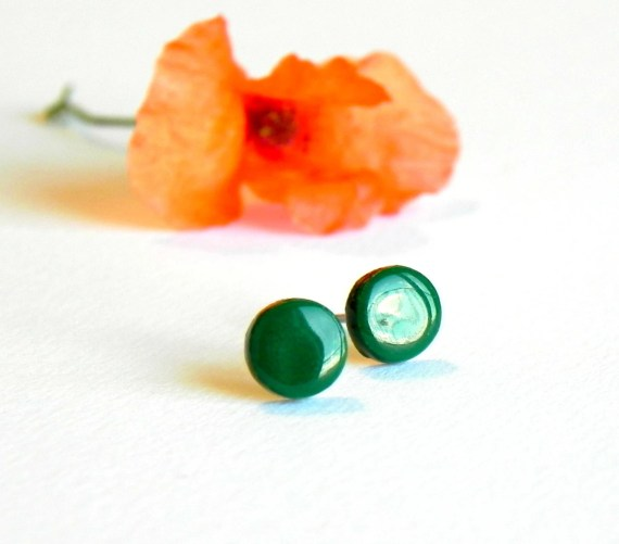 Emerald Green Tiny Post Earrings Ceramic Modern Studs, Spring Fashion
