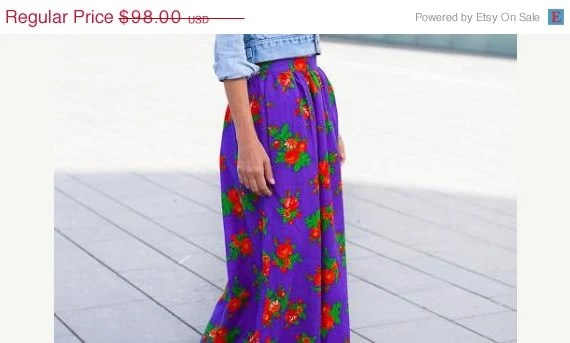 Purple winter maxi skirt with colorful flowers - ANNAKSHOP