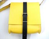 Bill Betjeman - Classically styled bright yellow and black Joebobjim hide leather mini shoulder bag satchel or neat backpack or mini manbag - JOEBOBJIM