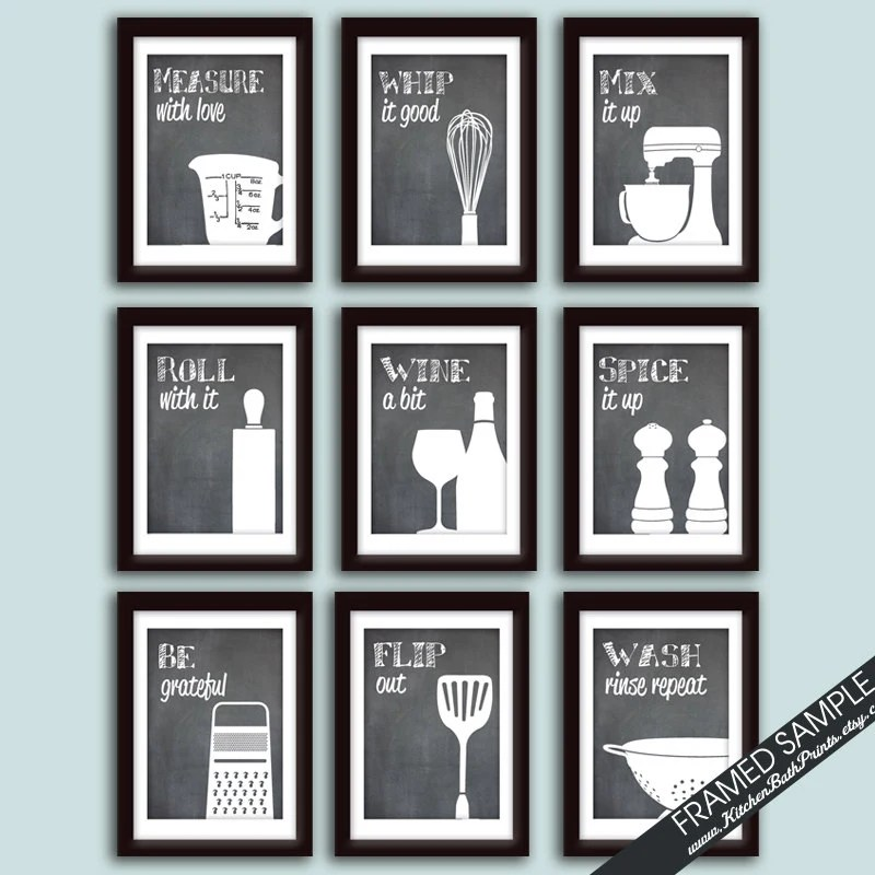 cute kitchen chalkboard sayings marble island funny art print set of 9 prints featured
