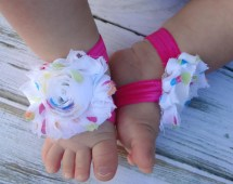 Party Dots Pink And White Baby Barefoot Sandals Newborn