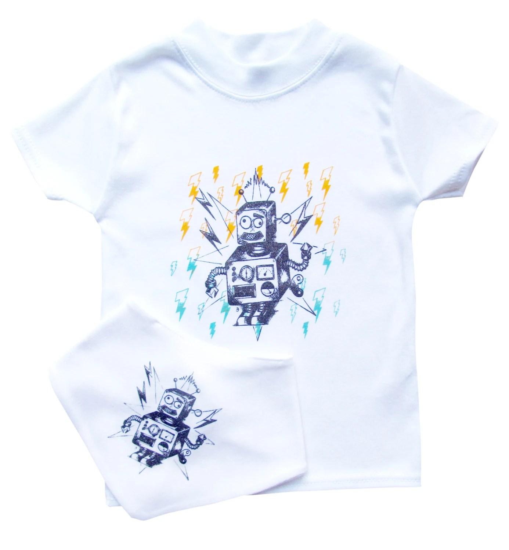 Hand printed toddler t-shirt and bib gift set