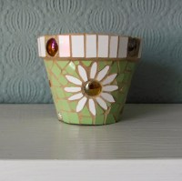 Small mosaic flower pot terracotta decorative and useable