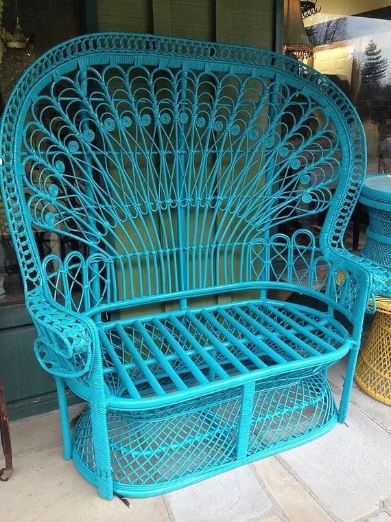 Items similar to Ornate Vintage Wicker Rattan Robin Blue