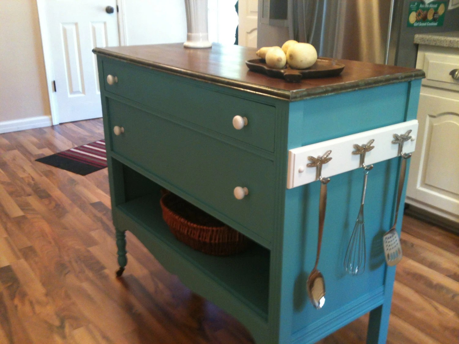 kitchen island made out of dresser mobile food for sale repurposed upcycled into charming turquoise aqua