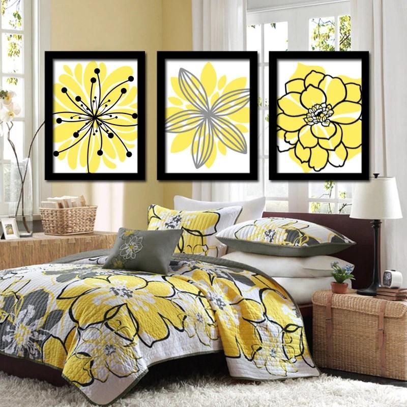 Wall Art Canvas Artwork Yellow Black Charcoal Gray Flower