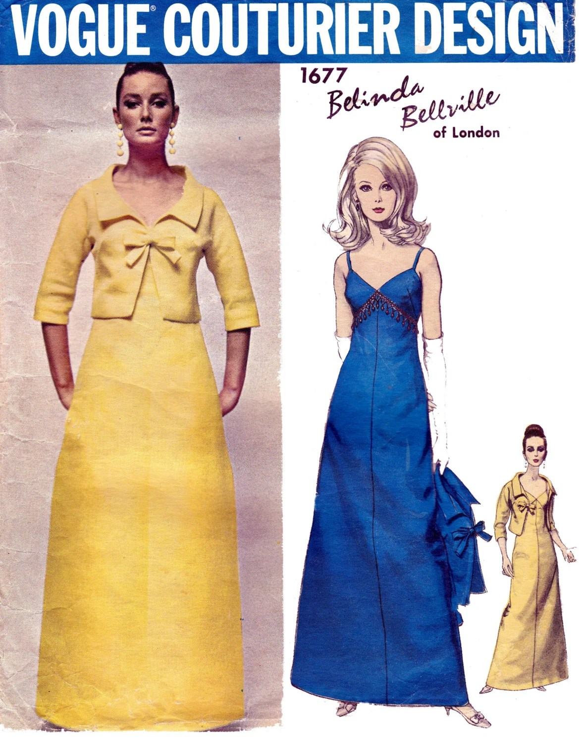 1960s Belinda Bellville evening ensemble pattern feat. Tania Mallet, Vogue Couturier Design 1677