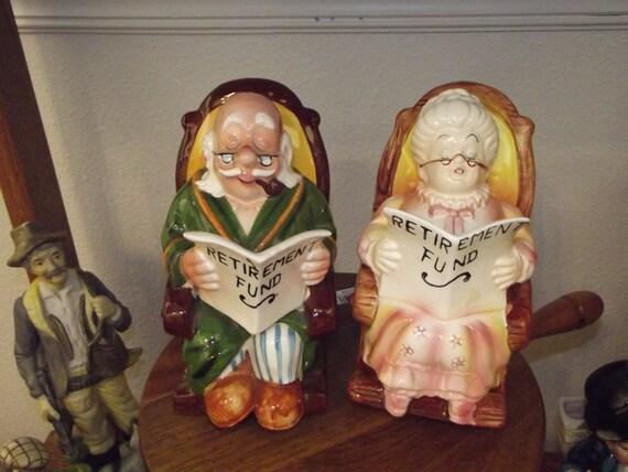 Lefton Ceramic Bank Set Old Couple Man Woman in Rocking Chairs