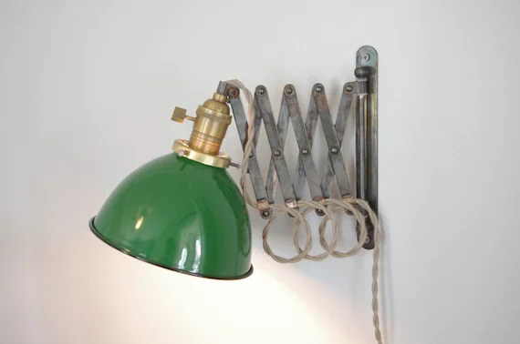 """Scissor Wall Lamp - Antiqued Patina Steampunk Lamp with Gas Station Porcelain Enamel 7"""" Shade"""
