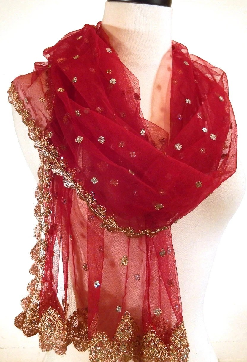 Red Shawl Formal Wrap Beaded Wrap Evening Shawl Red