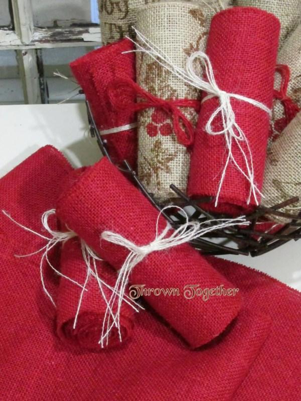 "Red Burlap Ribbon 6"" Wide Garland-chair Sash"