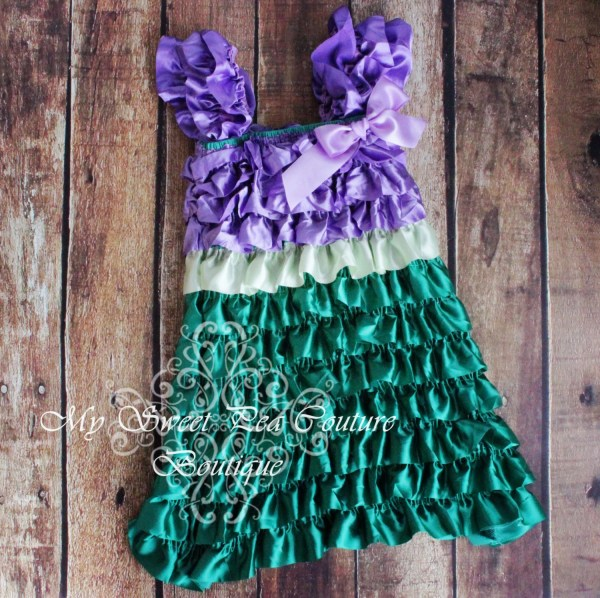 Mermaid Satin Ruffle Dress Little Costume