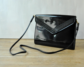 Vintage Black Patent Leather Envelope Purse/ Clutch - Made by Bag Bazaar - two13vintage