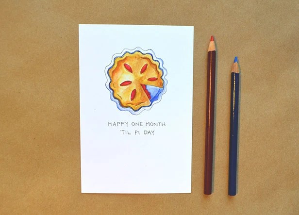 Items Similar To One Month Til Pi Day Postcard Optional