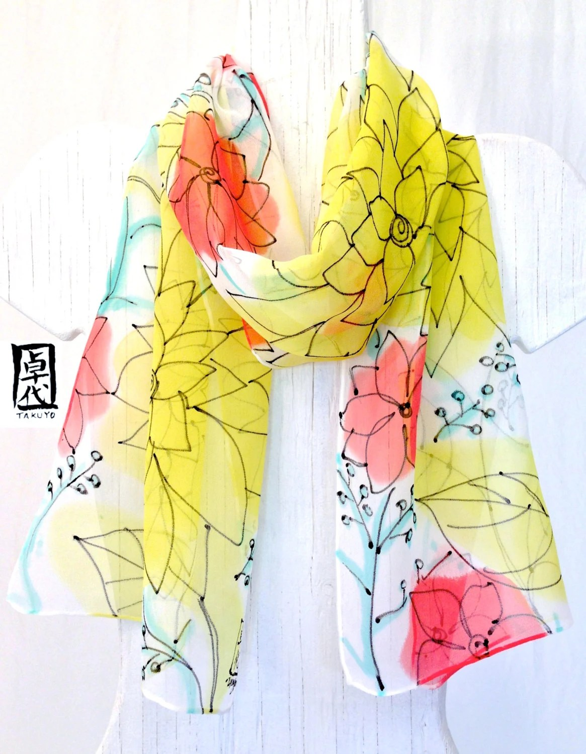 Handpainted Silk Scarf Yellow Summer Garden Party. Yellow Floral Scarf with Black Drawing. Multicolor Scarf. Silk Chiffon Scarf. 10x54 in. - SilkScarvesTakuyo