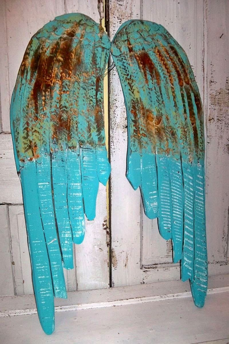 Large Wooden Angel Wings Beach Cottage Blue Rusty Hand Carved