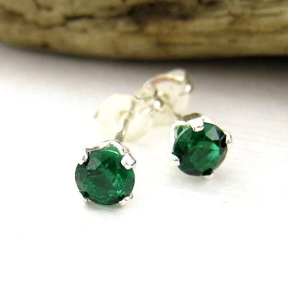 Emerald Stud Earrings Gemstone Post Earrings by JenniferCasady