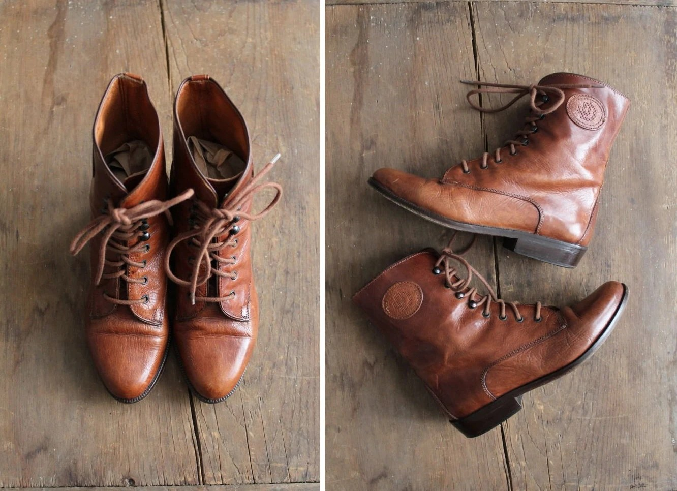 brown leather boots / lace up boots / ankle boots 5 - allencompany