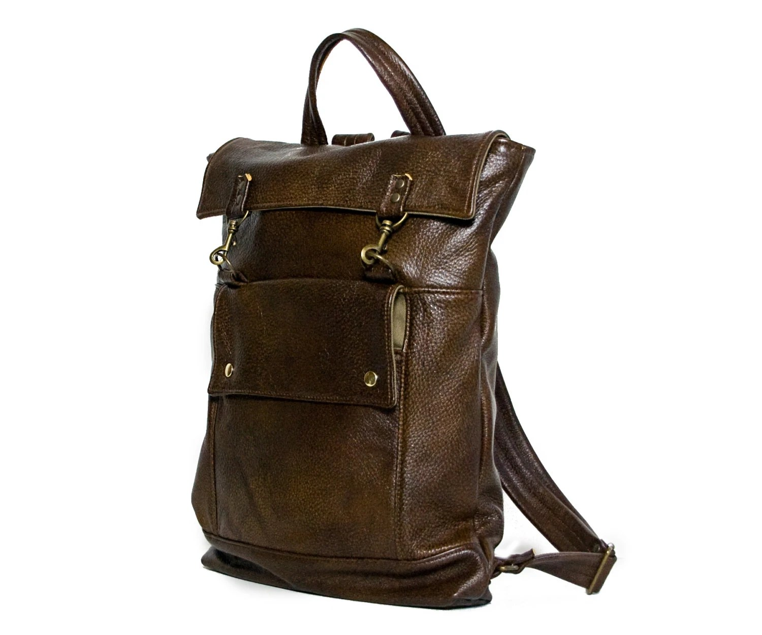 Leather Backpack - Laptop Backpack in Aztec Trail Multitone Brown Leather - Rucksack Bag - Back to School - Ready to Ship - jennyndesign