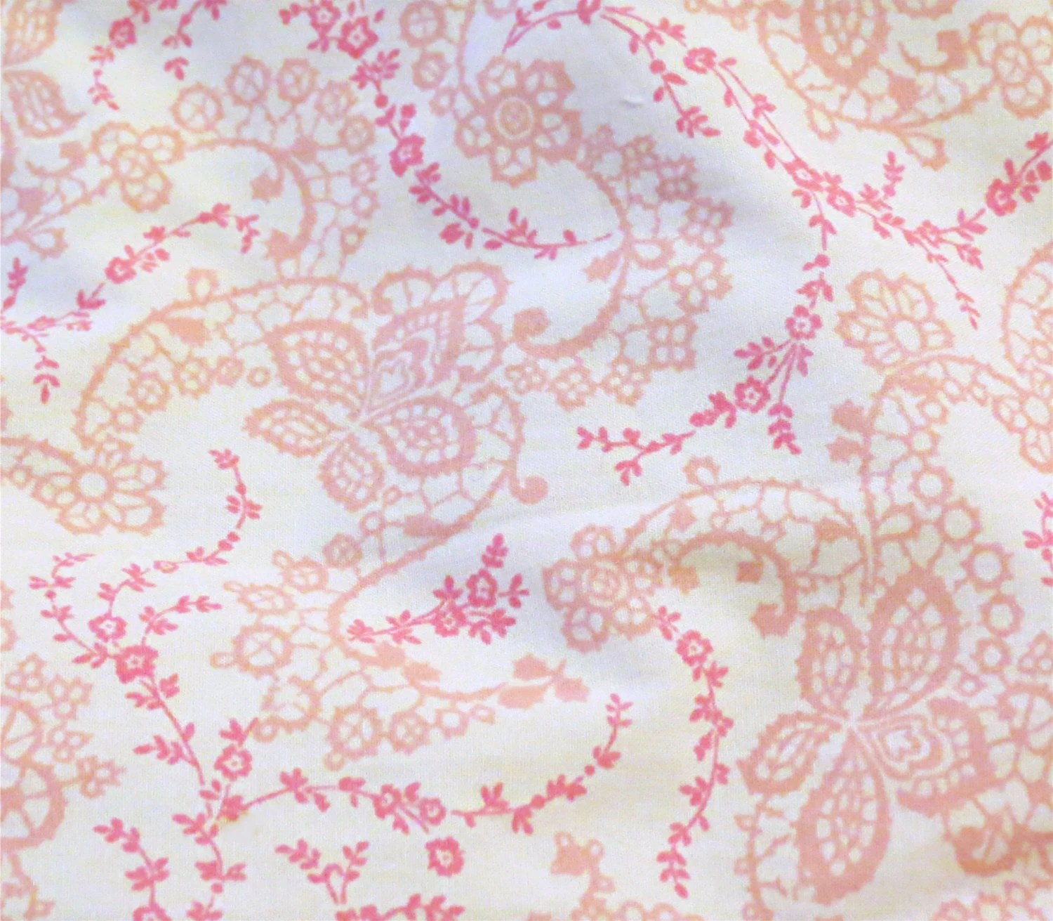 Rachel Ashwell Floral Stitch White Pink cotton poplin Shabby Chic Home Collection fabric - MyFabricCottage