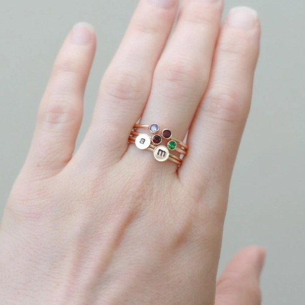 Mother' Ring. Dual Birthstone Solid 14k Gold. Two