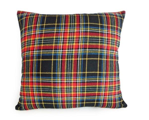 Black Red Plaid Pillow Cover Wool Tartan Year