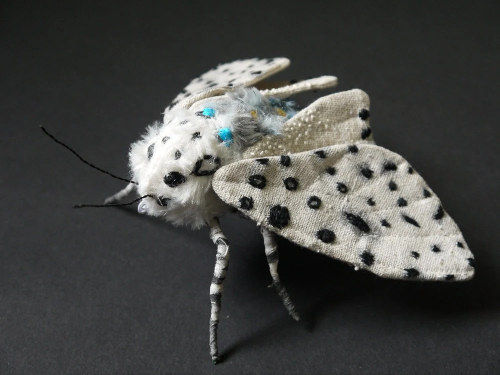 Fabric sculpture -Leopard Moth textile art