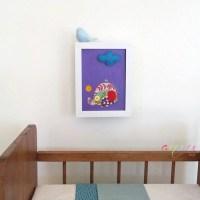 Baby Nursery wall art 3D felt canvasElephant in Felt by ...