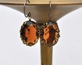 Vintage Topaz Faceted Glass Earrings - Vintage Assemblage