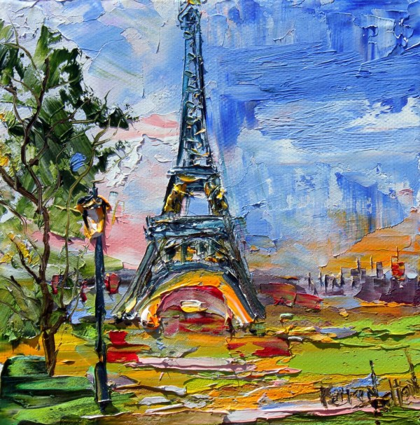 Original Oil Painting Paris Eiffel Tower Palette Knife Modern