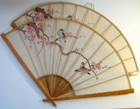 Vintage Asian Fan Decor Asian Wall Fan Set Cherry Blossom