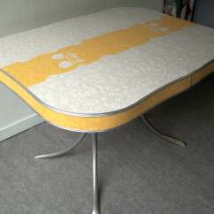 1950 S Yellow Formica Table And Chairs With Storage Space Vintage Grey Chrome