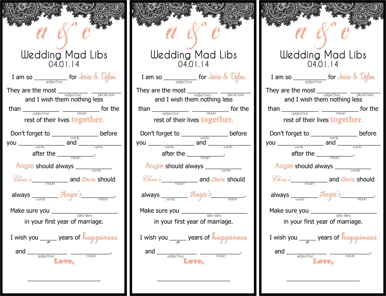 Paisley Wedding Mad Libs Printable By Kjones On Etsy