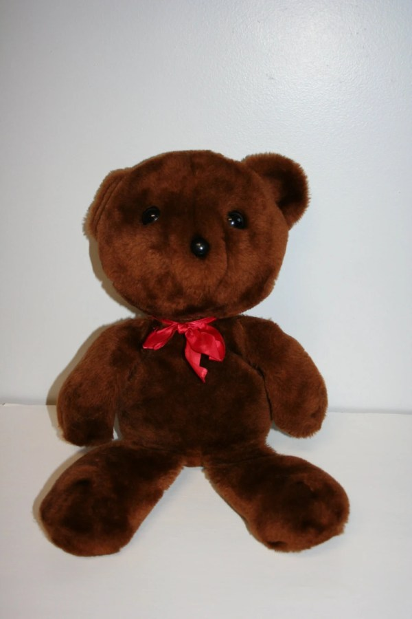 Vintage Knickerbocker Teddy Bear with Red Bow by