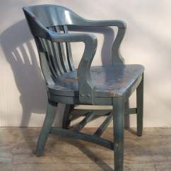 Wooden Library Chair Rocking Glider Vintage Painted Wood Lawyers Distressed And