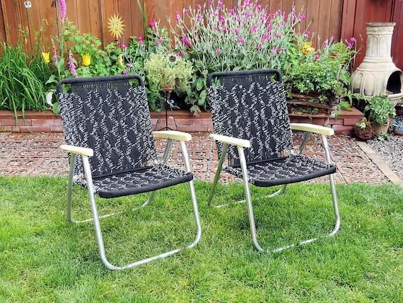 macrame lawn chair aeron review 2016 vintage folding chairs / black and white 1979