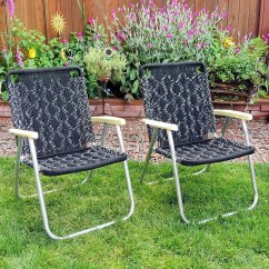 Macrame Lawn Chair Accent Office Chairs Vintage Folding Black And White 1979