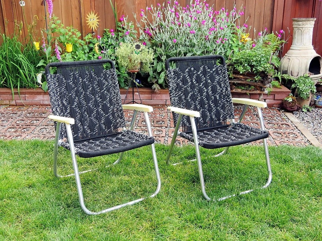 Retro Lawn Chairs Vintage Macrame Folding Lawn Chairs Black And White 1979