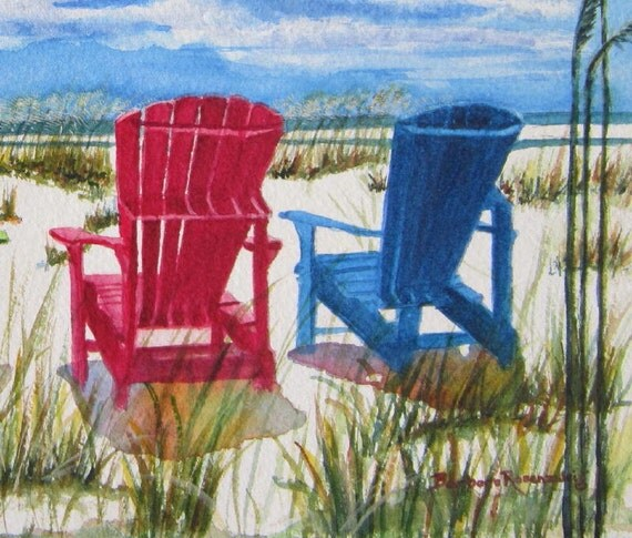 adirondack chair reviews country cottage sofas and chairs beach print wall art painting
