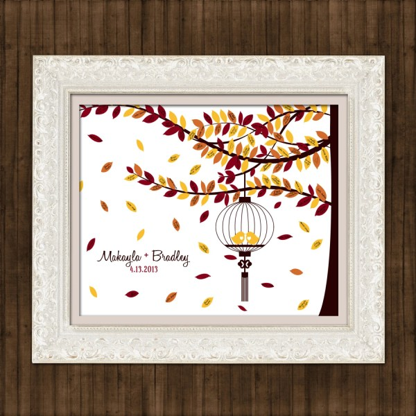 Fall Wedding Guest Book Signature Tree Caged by