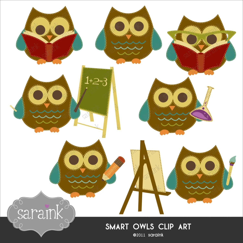 Smart Owls Scholarly Clipart Download Cute Digital Clip Art