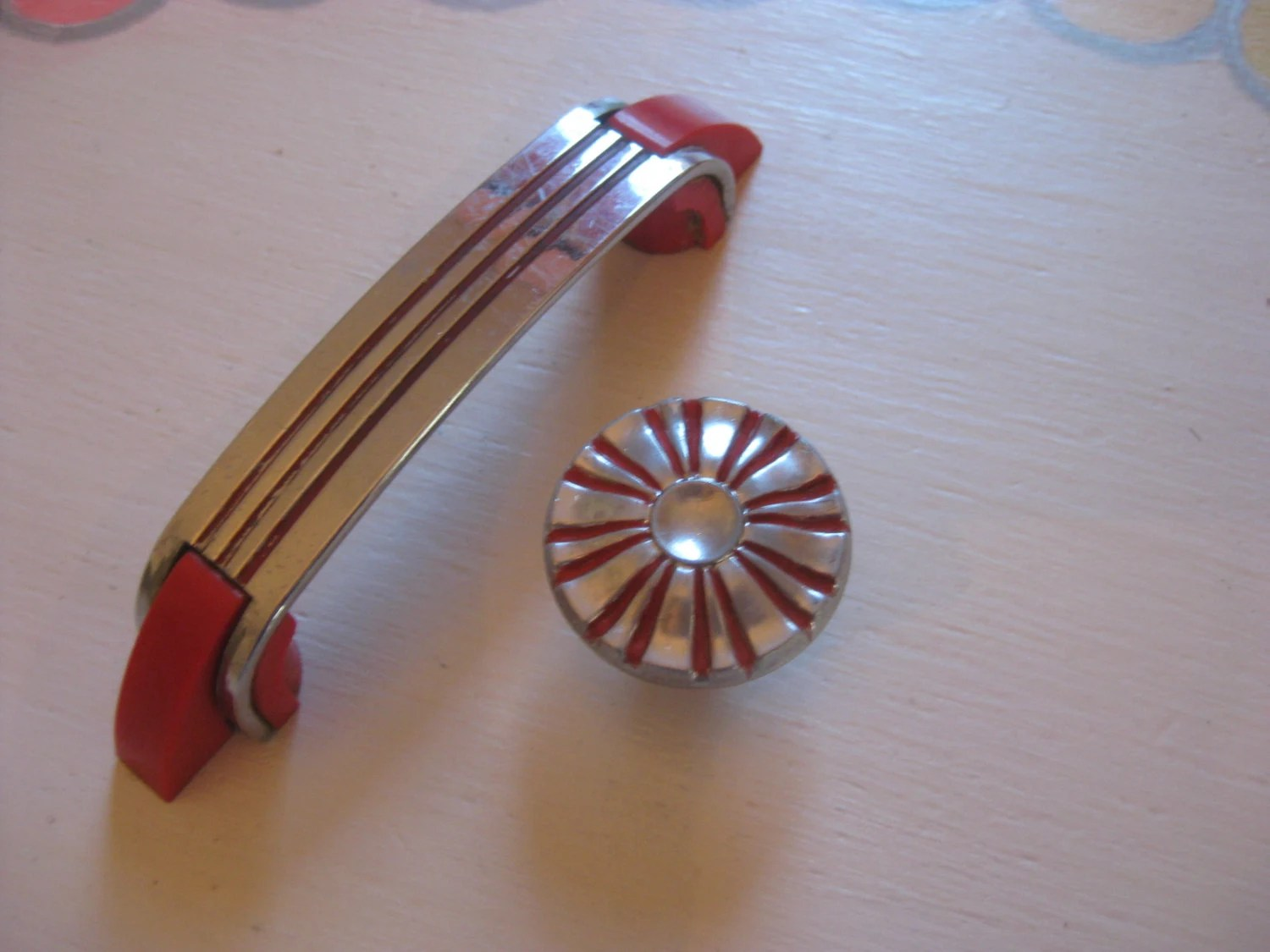 Lot Of 6 Vintage Art Deco Chrome And Red Drawer Pulls By