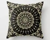 Black Gold Geometric Pillow, Mandala Pillow Cover, Zen Decor, Home and Living - LongForgotten