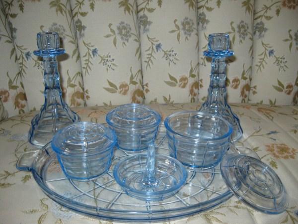 Vintage Blue Glass Vanity Set